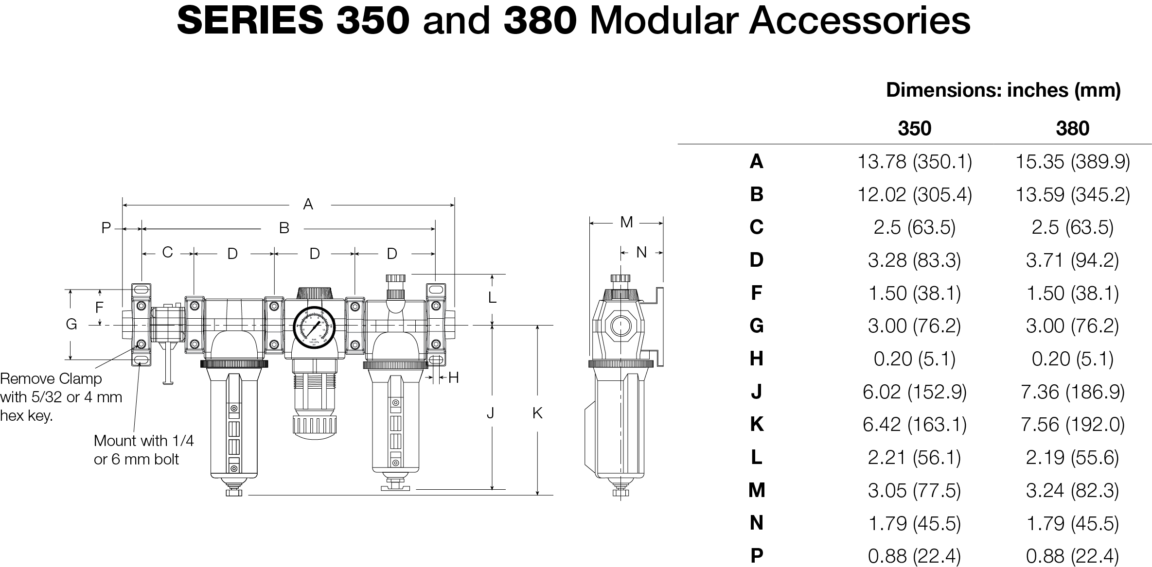 350 AND 380 SERIES FRL MODULAR ACCESSORIES DIMENSIONS