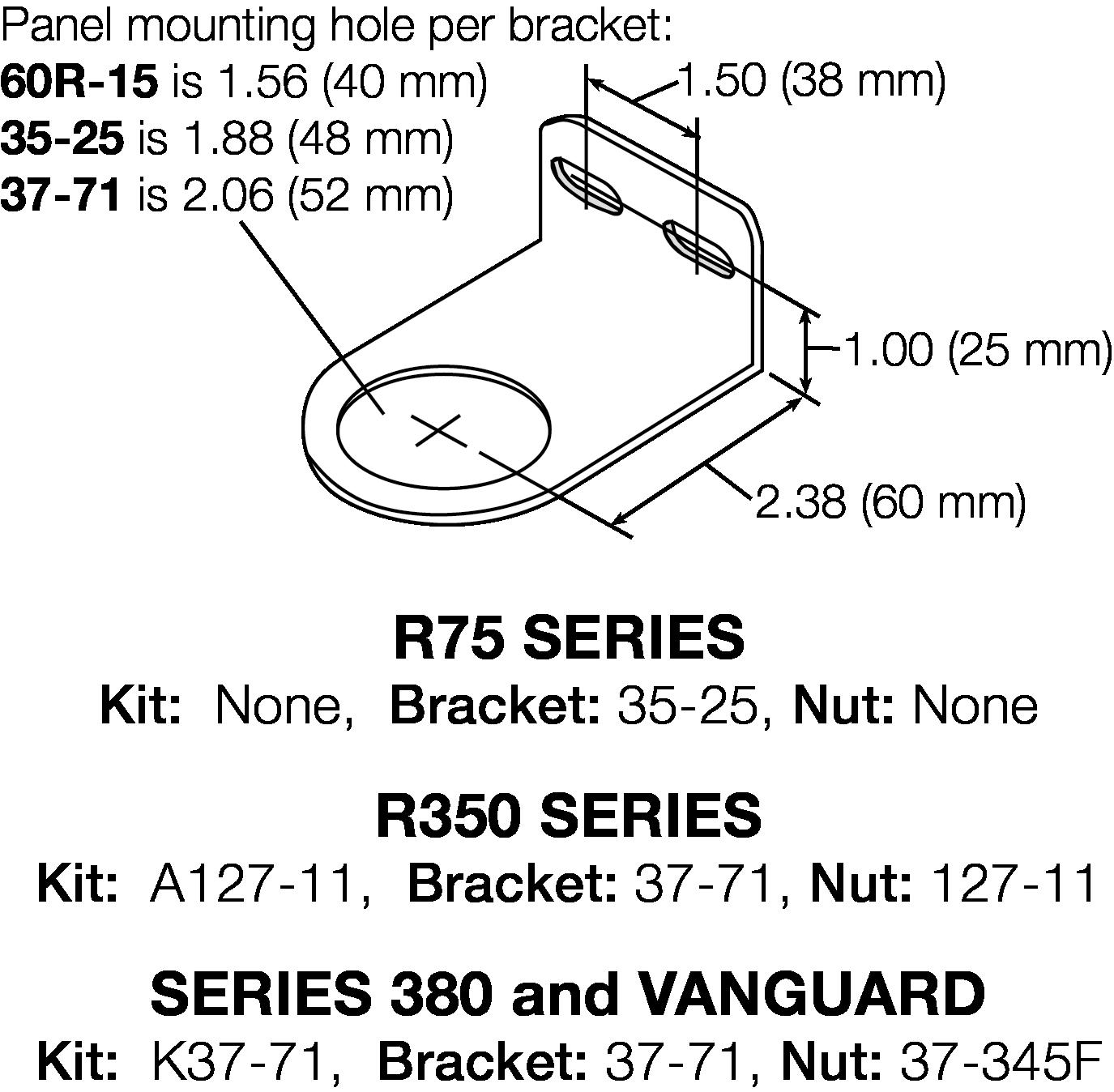 R75, R350, R380 AND VANGUARD BRACKET