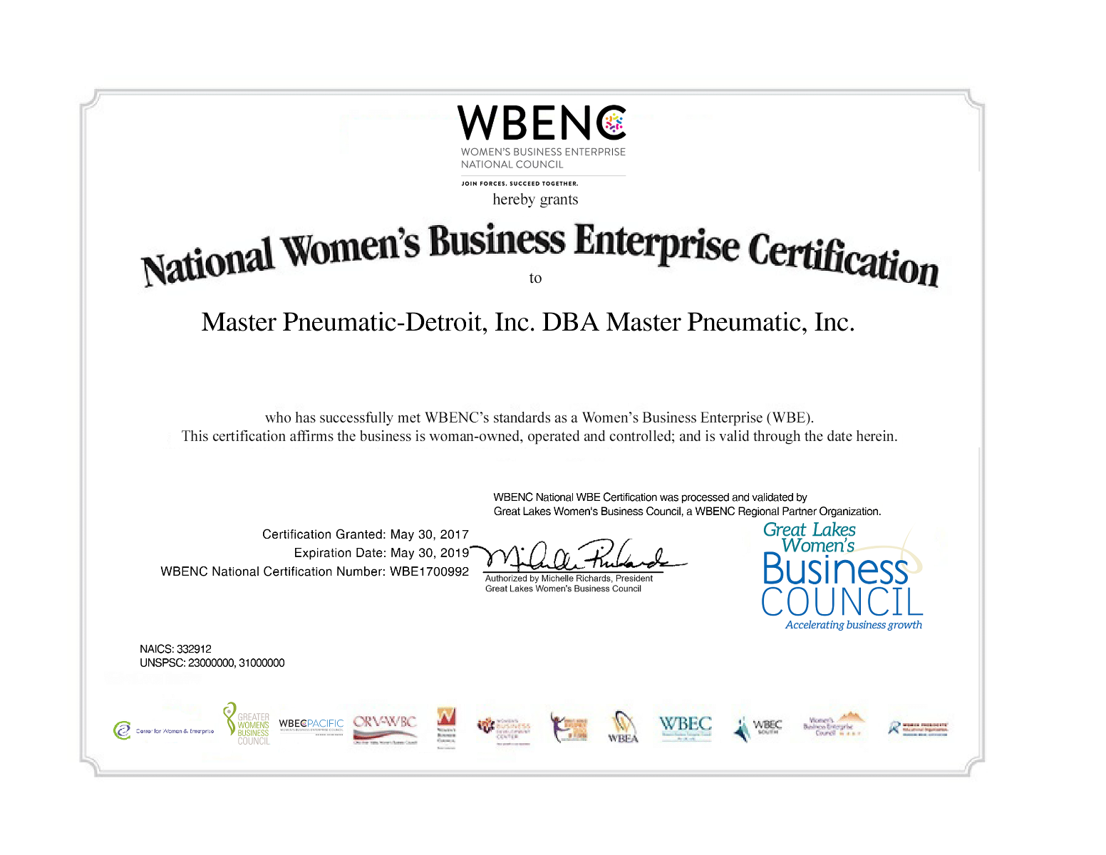 National Women's Business Enterprise Certification